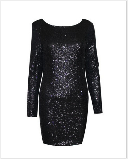 Drop shipping Fashion major Halter back sequin dress open back long sleeve  backless bodycon party dress 4 colors-in Dresses from Women s Clothing on  ... 722094f850c4