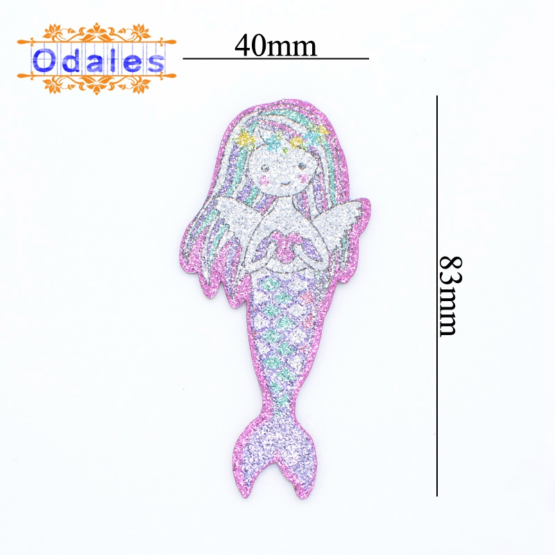 10Pcs Glitter PU Appliques Cartoon Mermaid Nonwoven Padded Patches for Wall Clothes Stickers DIY Hair Clips Printing Mermaid