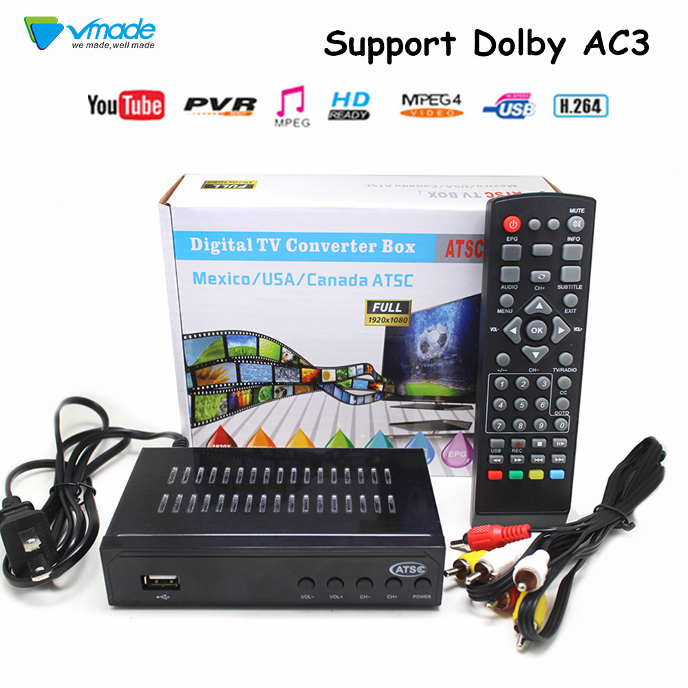 Image 1 - Vmade Fully HD Digital DVB ATSC Terrestrial TV Receiver Tuner Support MPEG 2/4 H.264 HD 1080p Set Top Box for Mexico USA Canada-in Satellite TV Receiver from Consumer Electronics