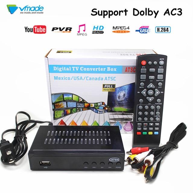 Vmade plenamente HD Digital DVB ATSC terrestre receptor de TV Tuner MPEG 2/4 H 264 HD 1080p HD Set Top Box para México, EE. UU. Canadá