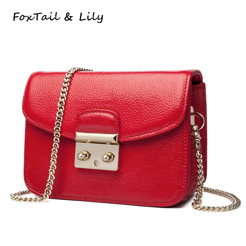 FoxTail & Lily Mini Lock Bag Chain Genuine Leather Small Shoulder Bags Fashion Women Chain Messenger Crossbody Bag High Quality fashion sheepskin mini women bag retro small fragrant bag chain diamond lattice small shoulder bags hasp women messenger bags