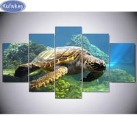 Sea Turtle DIY Diamond Embroidery 5D Diamond Painting 5pcs Diamond Mosaic 3d Pattern Sea Turtle Canvas
