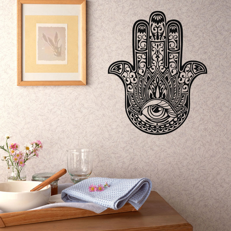 New Creative Personalized Lucky Hand Vinyl Wall Sticker Funny Palm Wall Decal for Home Decoration DC8170