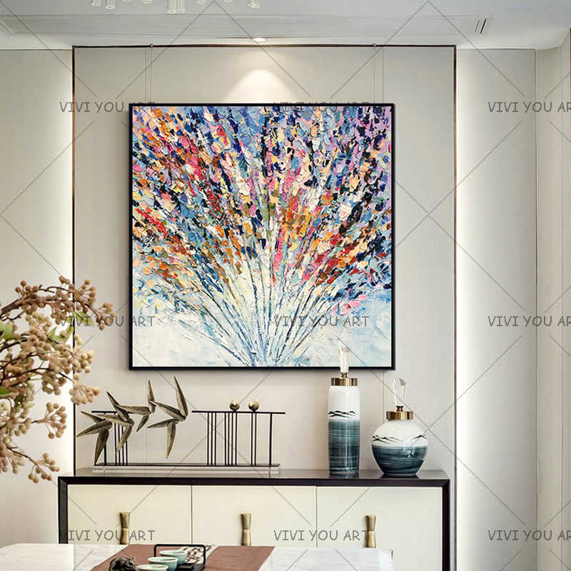 Handmade Knife Colorful Flower Oil Painting On Canvas Large 3D Paintings For Living Room Modern Abstract Home Wall Art Pictures