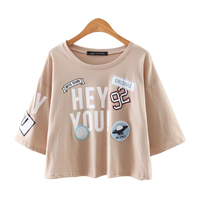 X220 Women Summer Cute Letter Print Badage Patch O Neck Loose T Shirt Ladies Casual European