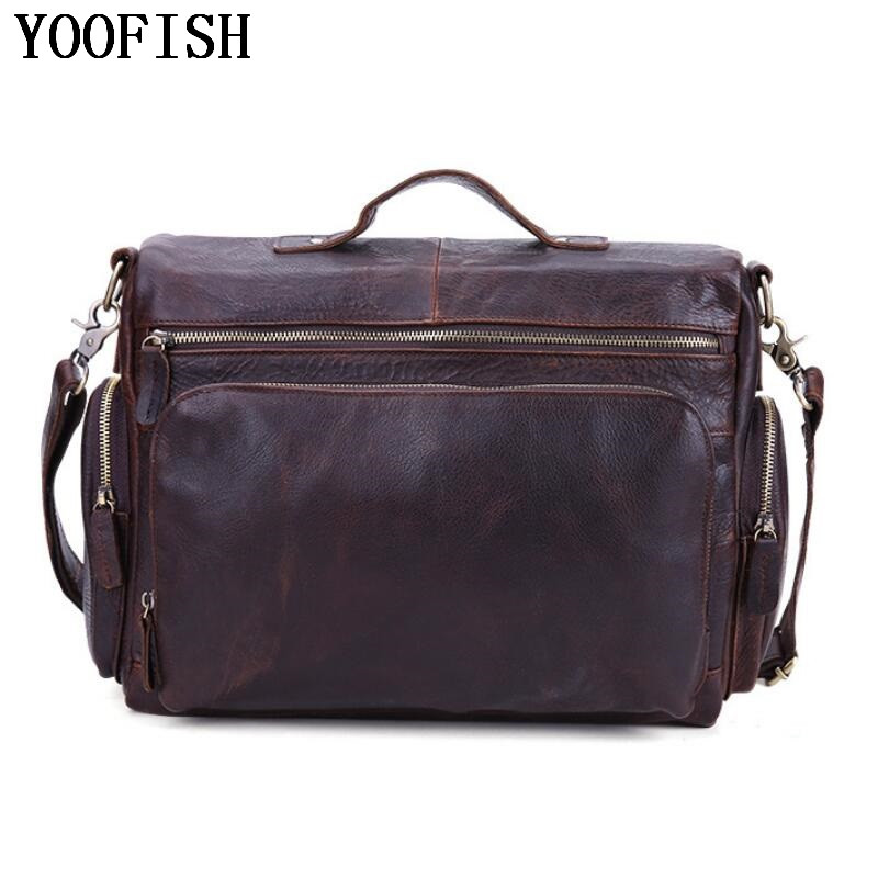 YOOFISH Genuine Leather Men Bags Casual Man Crossbody Shoulder Handbag Men Messenger Bags Male Briefcase Men's Travel Bag citizen citizen ew3142 56pe