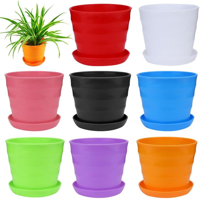 Colourful Flower Pots extra large Plastic Pot Succulent Plant Flowerpot Home Office Decor Flower Pots Planters wholesale #4M13 (8)