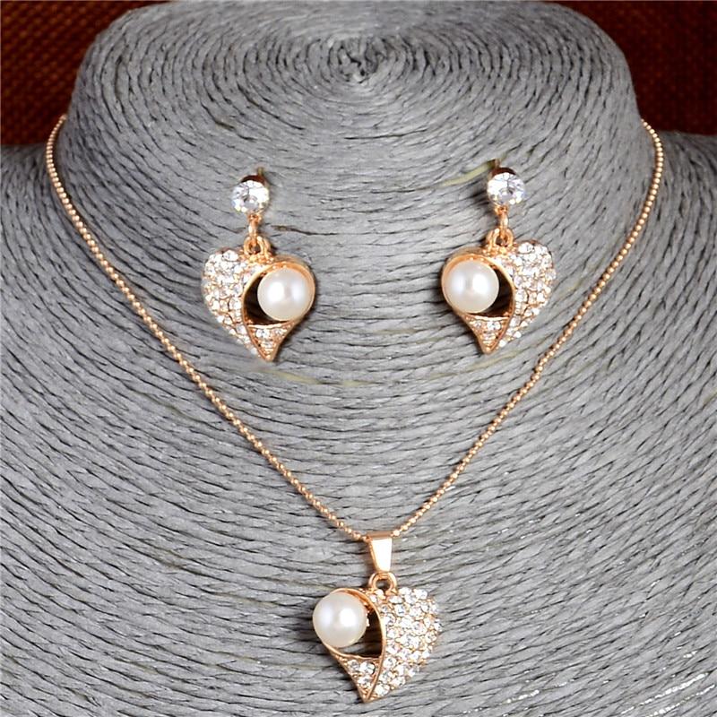 High quality Imitation Pearl Jewelry Sets For Women Heart Shape Austria Crystal Rhinestone Earrings Pendant Necklace Jewelry