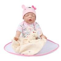 NPK DOLL Reborn Baby Doll Vinyl Body Monitor Sleep Brown Mohair Toys Pink Hats Gift For Girls Boys Kids Playmate 22 inch
