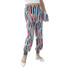 ENTOMOGAMY Colorful Striped Ladies Pants Middle Waist Harem Pants Summer Ankle- Length Pants Bohemian Nine Length Lady Pant