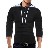 Male 2018 Brand Long Sleeve Line Stitch Button T Shirt Collar Slim Men T Shirt Tops