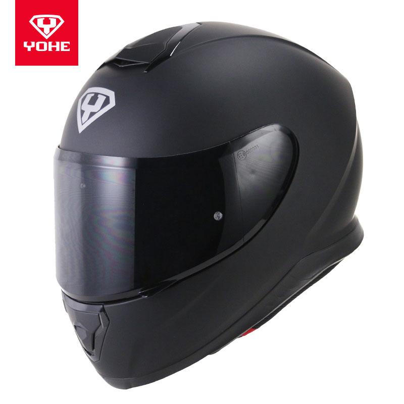 2017 winter New YOHE Full Face Motorcycle Helmet ABS Motorbike Helmets with PC Lens Visor Bright black Matte black white color