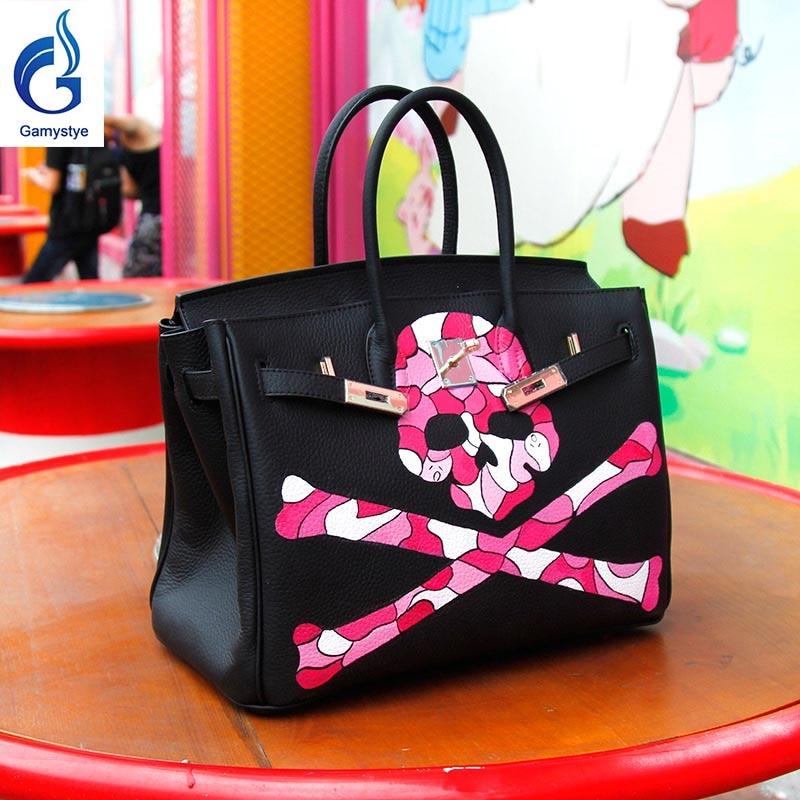 Граффити пользовательские Сумки Женская Сумки женские кожаные сумки женские сумки Курьерские сумки ручная роспись граффити Rock Череп Сумки