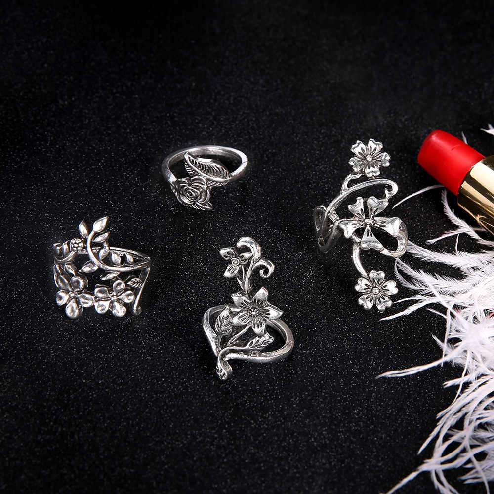 4ชิ้น/เซ็ตแหวนนิ้วชุดสำหรับผู้หญิงโบราณสีเงินกุหลาบใบฮอลโลว์ดอกไม้ใบK Nuckleแหวนนิ้วกลางเครื่องประดับของขวัญ