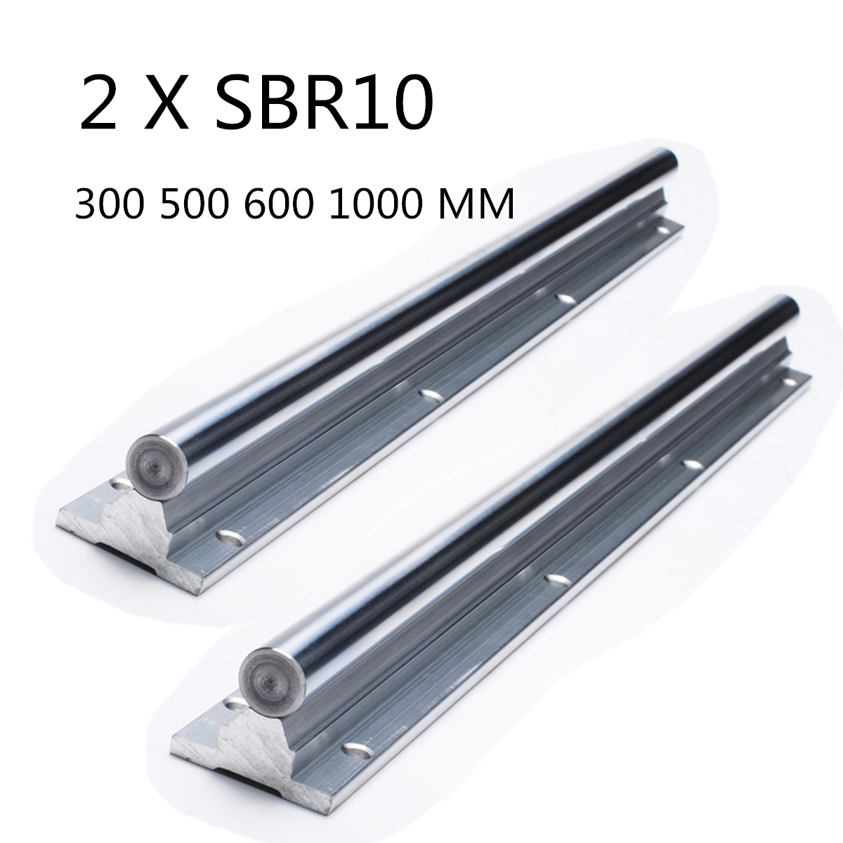 US CZ SHIPPING 2pcs Brand New SBR10 300 500 600 1000 Linear Rail Shaft Rod optical axis guide bearing image