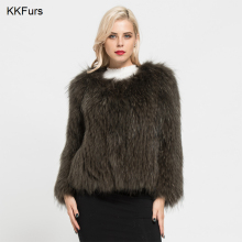 JKKFURS 2019 New Fashion Real Raccoon Fur Coat Spring Autumn Winter High Quality Knitted Womens Jacket S7105