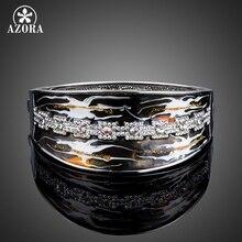 Azora diseño único stellux cristal austriaco negro pintura al óleo patrón brazalete pulsera TB0079