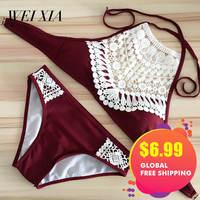 Christmas Gift WEIXIA 2017 Show Push Up Bra Swimwear Lovely Girl Swimsuit Female Bikini Set