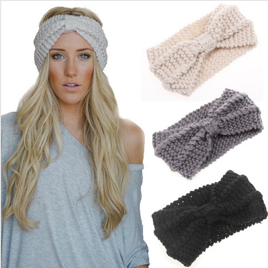 1PC Women Lady Crochet Bow Knot Turban Knitted Head Wrap Hairband Winter  Ear Warmer Headband Hair Band Accessories f11e6f88681
