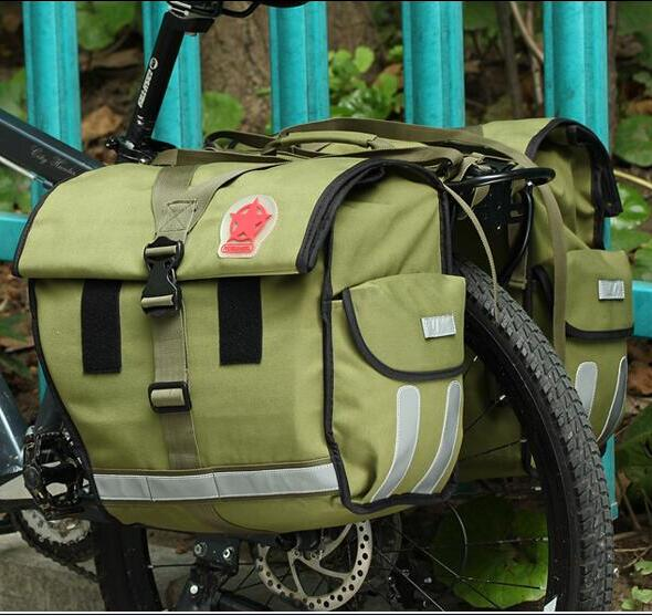 ROSWHEEL Canvas Waterproof Bicycle Rear Seat Bags Panniers Double Side Bike Pouch Trunk Rack Tibet Travel  Carrier Bag Green roswheel 50l bicycle waterproof bag retro canvas bike carrier bag cycling double side rear rack tail seat trunk pannier two bags