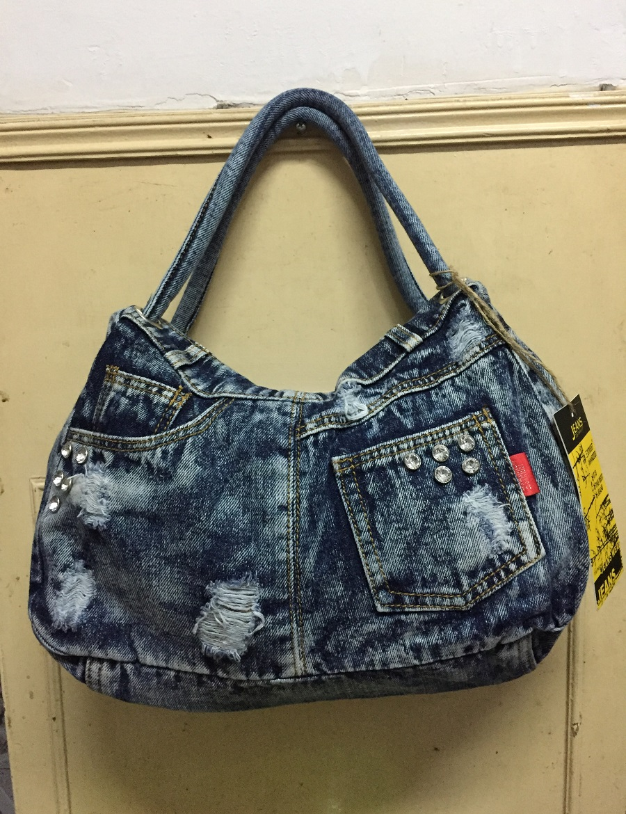 Vintage Fashion Soft Hobos Shine Rhinestone Denim Jeans Women HandBags Evening Bag Totes Female Shoulder Messager