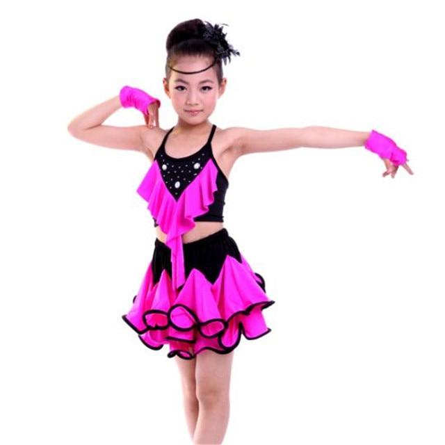 4 Colors Latin Dance Dress For Girls Rose Salsa Dresses Yellow Sequin Tango Ballroom Dance Dresses Kids Red Girls Dancewear