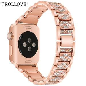 Strap Watch-Band Apple Women 1-Bracelet Stainless-Steel 42mm 40mm Bling for 44mm 38mm