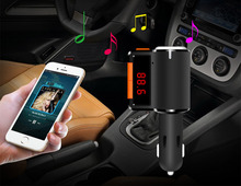 BC09 Bluetooth Car Charger Hands-free Car MP3 Player FM Transmitter Dual USB One more Cigar Lighter Port Car Kit For Phone audio