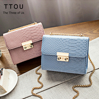 Autumn Fashion Mini Bag Chain Crocodile Women S Handbag Small Candy Color Flap Bag Ladies Shoulder
