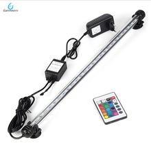 48cm RGB Remote Aquarium Light Fish Tank Waterproof 5050 SMD LED Bar Light Aquatic Lamp Submersible EU US SAA UK plug 46cm 18pcs led aquarium fish tank light tube bar light underwater submersible air bubble safe lighting us eu uk saa plug
