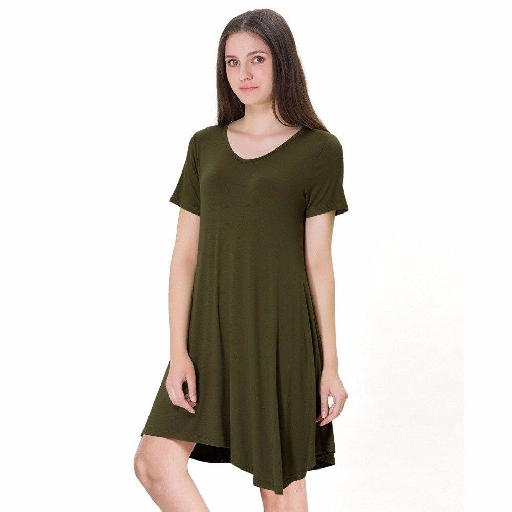 Womens Casual Plain Simple Long T Shirt Summer Loose Shirt Dress V