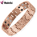 Rainso 2017 New Double Row Elements Bio Bracelet Men's Stainless Steel Magnetic Bracelet Rose Gold Plated OSB-065RGFIR