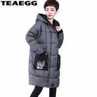 Teaegg Высокое качество, Большие размеры серый Для женщин s зима Куртки верхняя одежда Повседневное белая утка Подпушка куртка для Для женщин п