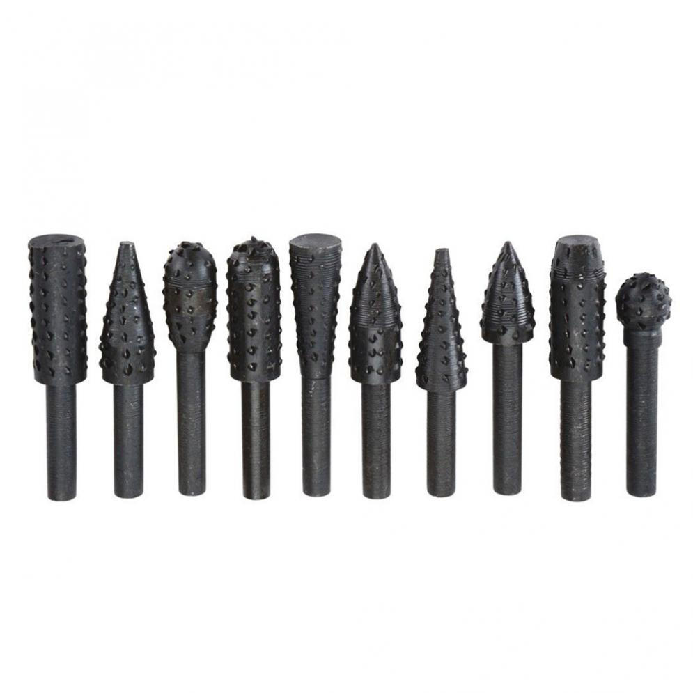 10pcs Rotary Burr Set Wood Carving File Rasp Drill Bit 1/4in 6mm Shank Tool BI180+ forex b016 6796