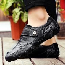 Men's Casual Shoes Slip On Fashion British Style Genuine Leather Men Shoes High-Quality Outdoor Shoes Zapatos Chaussure Hombre