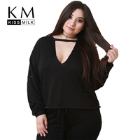 Kissmilk Women Plus Size Deep V Neck Hole Sweater Hollow Out Long Sleeve Solid Color Basic Tops Large Size Casual Sweater