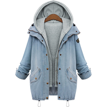 M-4XL 2016 jacket women Two Piece Set Denim Jacket Hooded Plus Size Casual Women Coat Outwear Light Blue Ropa Mujer
