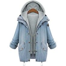 M-XXXL 2016 куртка женщин комплект из двух предметов джинсовая куртка с капюшоном Плюс Размер Повседневная женщин пальто пиджаки голубой женская одежда