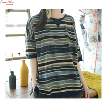 Cotton Colored Striped Crew Neck T-shirt Summer Women Soft Patchwork Casual Shirts Jumper Camisetas
