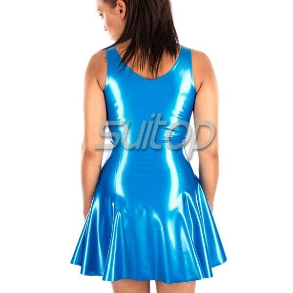 Robe en latex de caoutchouc couleur bleu métallisé
