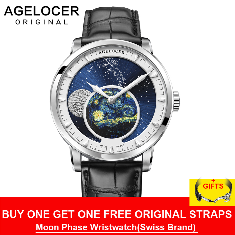 AGELOCER Novo Projeto Da Fase Da Lua Relógio do Suíço Dos Homens Relógios Top Marca de Luxo Relógio de couro Preto Homens Relógio Automático 6401A1