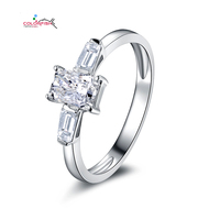 Wholesale Three Stone Wedding Band Platinum Plated Finger Ring Sterling Silver NSCD Simulated Diamond Ring Fashion