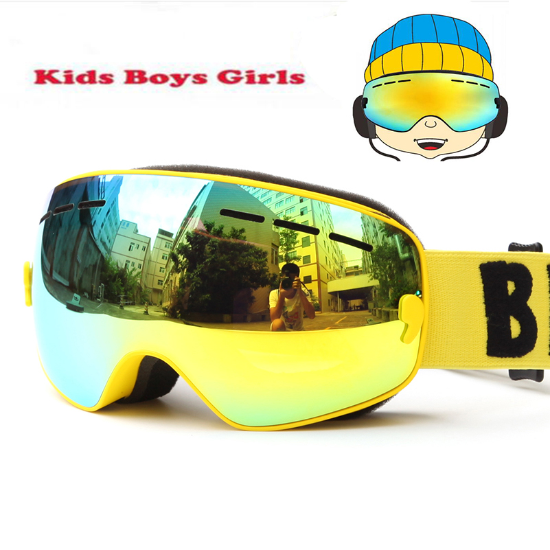 Brand UV400 Anti-fog Snowboard goggles Kids Double Lens Ski Snow Glasses Child Skiing Mask Winter Girls Boys Eyewear Gafas 4-15 men tiger print sleeve drawstring hoodie sweatshirt