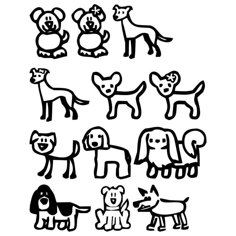 15.5*20CM 12 Stick Family Dogs Cartoon Vinyl Decal Fashion Classic Window Decorative Car Stickers Black/Sliver C6-1528 car