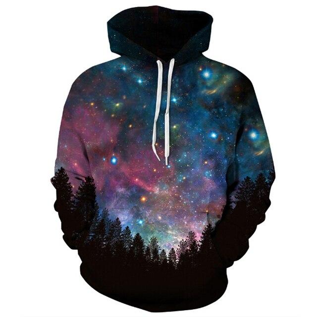 312fda33eabe 2017 Hot forest color Galaxy Star Sky 3D Printing Hoodies Unisex Hip Hop  Sweatshirt Fashion harajuku Casual Hooded sweatshirt