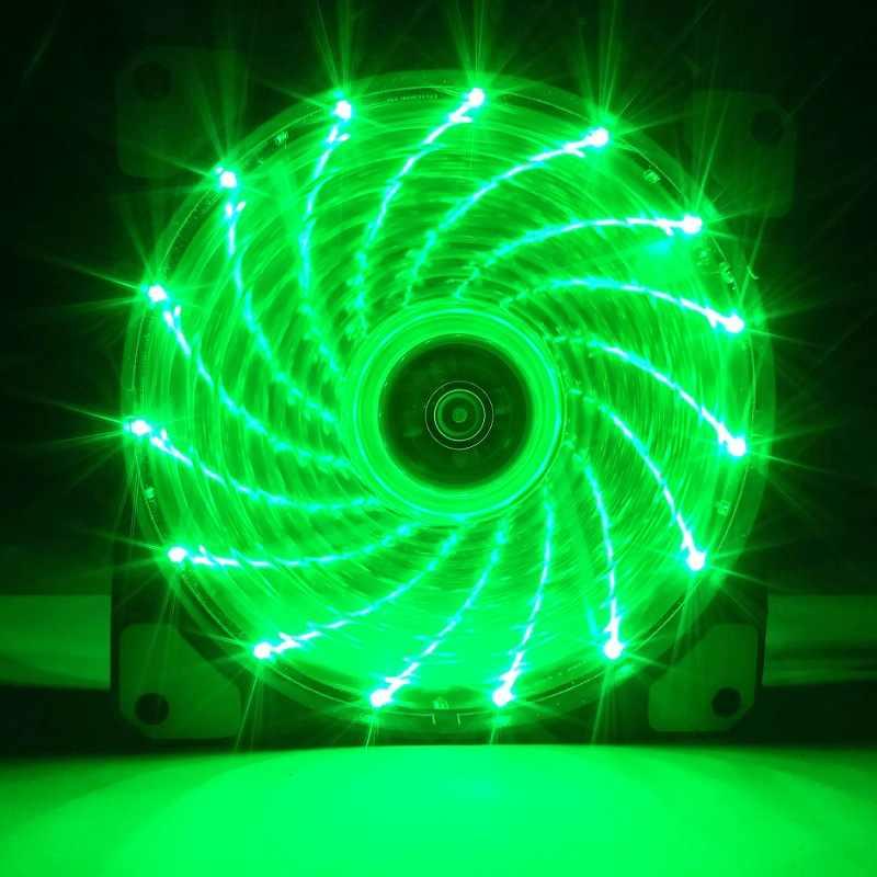 120 мм ПК компьютер 16 дБ Ультра тихий 15 светодиодов Корпус Вентилятор радиатор охлаждения с антивибрационной резиновой, 12 см вентилятор, 12VDC 3 P IDE 4pin