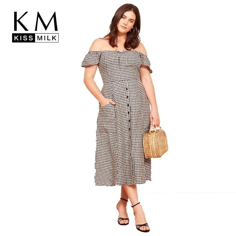 e5d27d760acb Kissmilk Plus Size Women Sexy Slash Neck Off Shoulder Plaid Midi Dress  Vintage Short Sleeve Single
