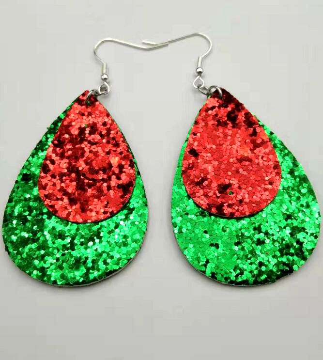 Layers Color PU Leather Earrings For Women New Big Statement Dangle Leaf Earring Fashion Jewelry Accessories Wholesale