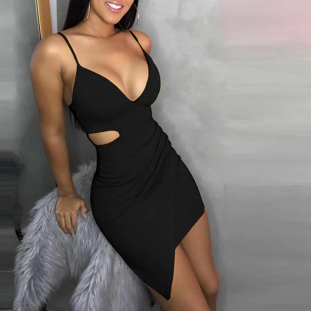 JAYCOSIN 2019 offre spéciale été femmes robes Sexy solide sans manches évider Desigual profonde col en v serré ajustement Club 9041215