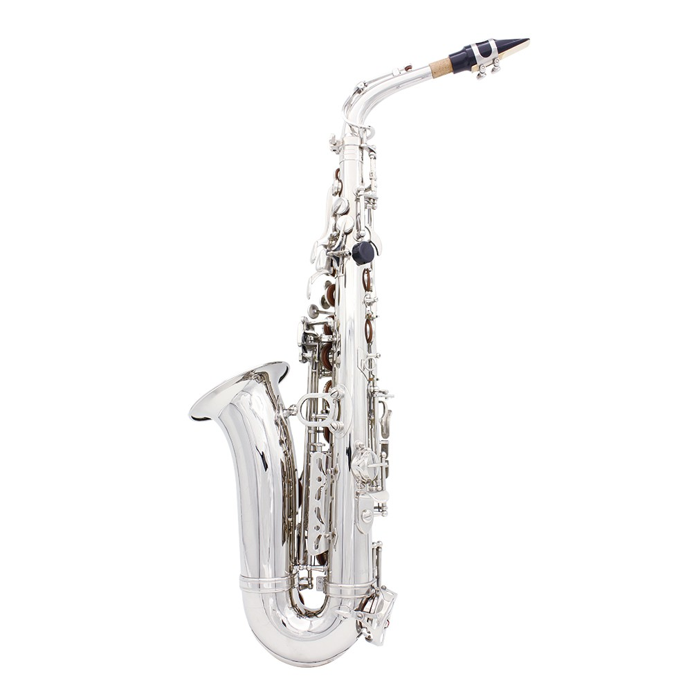 LADE Alto Eb Silver Saxophone Sax Paint Silver With Case With Case Gloves Cleaning Cloth Grease Belt Brush Wind Instrument